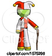 Green Jester Joker Man Standing With Hiking Stick