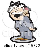 Short And Tempermental Man Smoking A Cigar Clipart Illustration