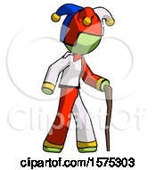 Green Jester Joker Man Walking With Hiking Stick