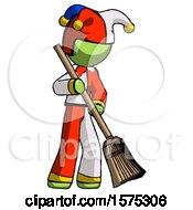 Green Jester Joker Man Sweeping Area With Broom