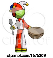 Green Jester Joker Man With Empty Bowl And Spoon Ready To Make Something