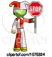 Green Jester Joker Man Holding Stop Sign