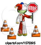 Green Jester Joker Man Holding Stop Sign By Traffic Cones Under Construction Concept