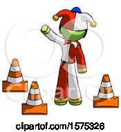 Green Jester Joker Man Standing By Traffic Cones Waving