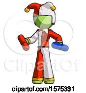 Green Jester Joker Man Red Pill Or Blue Pill Concept