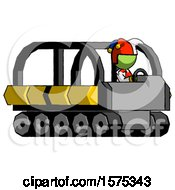 Green Jester Joker Man Driving Amphibious Tracked Vehicle Side Angle View
