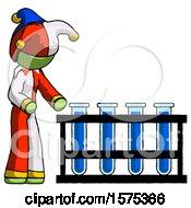 Green Jester Joker Man Using Test Tubes Or Vials On Rack