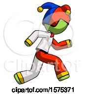 Poster, Art Print Of Green Jester Joker Man Running Fast Right