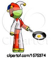Green Jester Joker Man Frying Egg In Pan Or Wok Facing Right