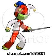 Green Jester Joker Man Stabbing With Ninja Sword Katana