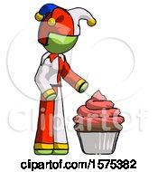 Green Jester Joker Man With Giant Cupcake Dessert