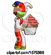 Green Jester Joker Man Holding Large Cupcake Ready To Eat Or Serve