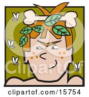 Man With A Bone And Leaves In His Hair Surrounded By Flies Clipart Illustration by Andy Nortnik