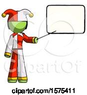 Green Jester Joker Man Giving Presentation In Front Of Dry Erase Board