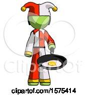 Green Jester Joker Man Frying Egg In Pan Or Wok