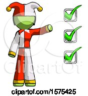 Green Jester Joker Man Standing By List Of Checkmarks