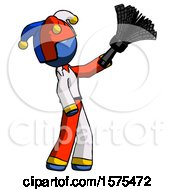Blue Jester Joker Man Dusting With Feather Duster Upwards