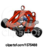 Poster, Art Print Of Blue Jester Joker Man Riding Sports Buggy Side Top Angle View