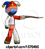 Blue Jester Joker Man Pointing With Hiking Stick