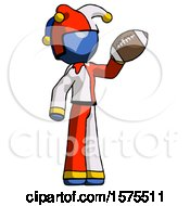 Blue Jester Joker Man Holding Football Up