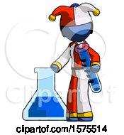 Blue Jester Joker Man Holding Test Tube Beside Beaker Or Flask