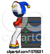 Blue Jester Joker Man Resting Against Server Rack