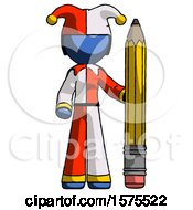 Blue Jester Joker Man With Large Pencil Standing Ready To Write