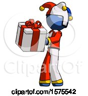 Blue Jester Joker Man Presenting A Present With Large Red Bow On It