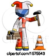 Blue Jester Joker Man Under Construction Concept Traffic Cone And Tools
