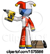 Blue Jester Joker Man Holding Drill Ready To Work Toolchest And Tools To Right