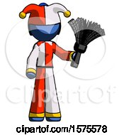 Blue Jester Joker Man Holding Feather Duster Facing Forward