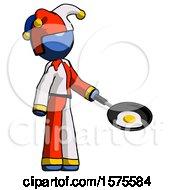 Blue Jester Joker Man Frying Egg In Pan Or Wok Facing Right