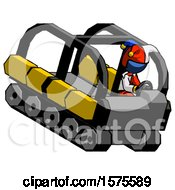 Blue Jester Joker Man Driving Amphibious Tracked Vehicle Top Angle View