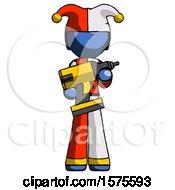 Blue Jester Joker Man Holding Large Drill