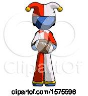 Poster, Art Print Of Blue Jester Joker Man Giving Football To You