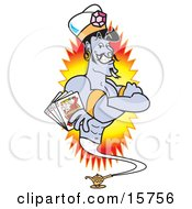 Male Genie In A Casino Holding Playing Cards Clipart Illustration