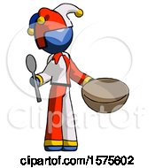 Blue Jester Joker Man With Empty Bowl And Spoon Ready To Make Something