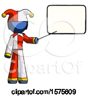 Blue Jester Joker Man Giving Presentation In Front Of Dry Erase Board
