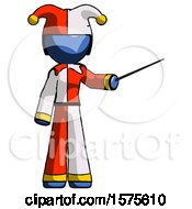 Blue Jester Joker Man Teacher Or Conductor With Stick Or Baton Directing