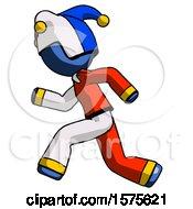 Poster, Art Print Of Blue Jester Joker Man Running Fast Left