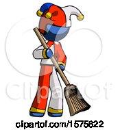 Blue Jester Joker Man Sweeping Area With Broom