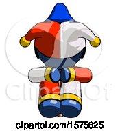 Blue Jester Joker Man Sitting With Head Down Facing Forward