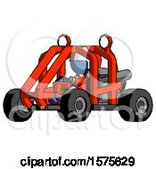 Blue Jester Joker Man Riding Sports Buggy Side Angle View