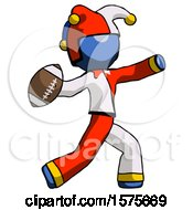 Blue Jester Joker Man Throwing Football