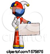 Blue Jester Joker Man Presenting Large Envelope