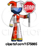 Blue Jester Joker Man Holding Stop Sign