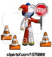 Blue Jester Joker Man Holding Stop Sign By Traffic Cones Under Construction Concept