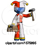 Blue Jester Joker Man Holding Tools And Toolchest Ready To Work