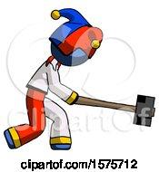 Blue Jester Joker Man Hitting With Sledgehammer Or Smashing Something