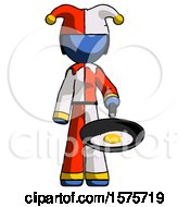 Blue Jester Joker Man Frying Egg In Pan Or Wok